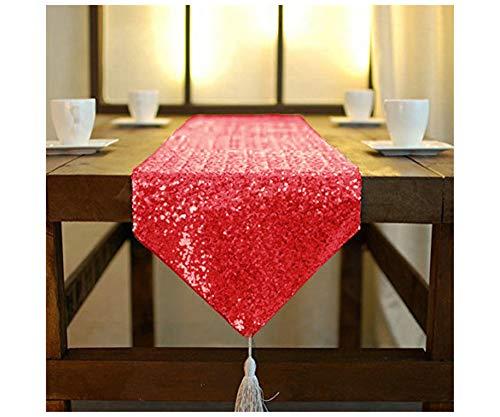 Shinybeauty schimmern Rot - Pailletten-Tabelle Läufer Quaste-30 X 180 cm, Runde Glitzer Pailletten Stoff für Tischläufer aus Bairthday Partei /wedding Bankett Tischwäsche Layout oder Dekoration (Rot) (Tabelle Rot)