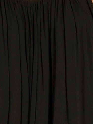 CASPAR SKL010 Damen leichtes hauchzartes Baumwoll Sommerkleid / Strandkleid Schwarz