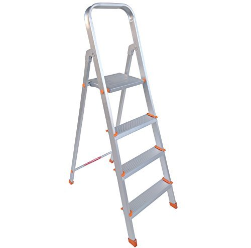 PlutoMax 4 Step Foldable Aluminium Ladder for Home Use (Silver)