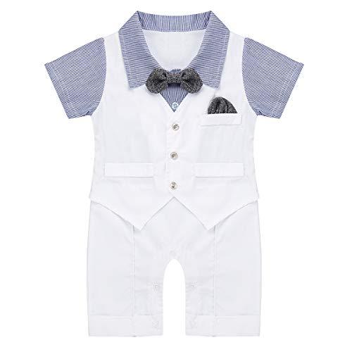 trampler aus Baumwolle Smoking Gentleman Bodysuit mit Fliege Kleinkind Fotoshooting Kostüm Sommer Hochzeit Taufkleidung Weiß&Blau 50-56 ()