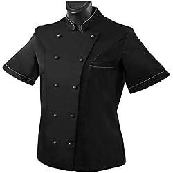 Misemiya ® Cocina Uniformes Bar Restaurante Chaquetas Chef COCINERA Mangas Cortas - Ref.848B - XXL, Negro