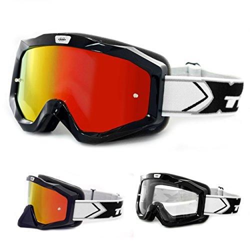 TWO-X EVO V2 Crossbrille schwarz Iridium verspiegelt MX Brille Motocross Enduro Spiegelglas Motorradbrille Anti Scratch MX Schutzbrille