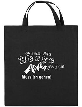 Comedy Bags - Wenn die Berge rufen - BERGE - Jutebeutel bedruckt, Baumwolltasche zwei kurze Henkel aus 100 % Baumwolle...