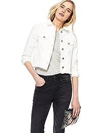 Nine by Savannah Miller Womens White Frayed Hem Denim Jacket