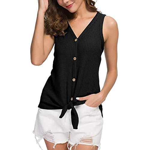 Joinfun Mujeres Camisetas sin Mangas Tank Top, botón Strappy Sexy Casual sin Mangas Blusa Cami Camisas Camiseta Chaleco Tops para Mujeres Dama (Negro, M)
