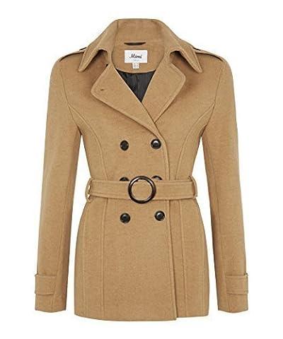 De La Creme - Women's Winter Wool & Cashmere Blend Jacket Ladies Short Double Breasted Belted Coat (UK 10/EU 36/US 8, Camel)