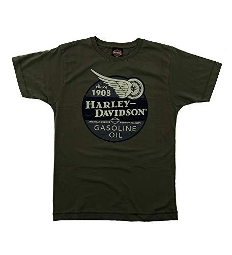 Harley Davidson Original HD T-Shirt für Biker - Gasoline Oil Since 1903 Harley T-Shirt für Biker - Rockabillys und den Harley Fahrer - grün, Größe:S