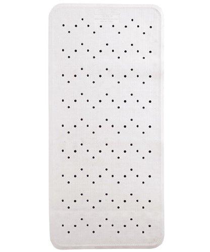TücherRus Anti-Pilz Anti-Rutsch Gummi Badematte, Weiß mit Saugnäpfen, 34cm x 74cm