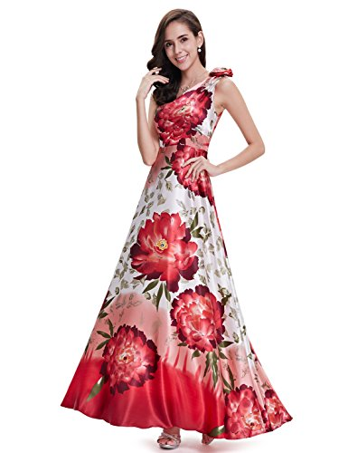 Ever Pretty Damen One Shoulder Blumenprint Partykleid 09623 Rot