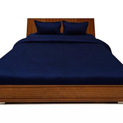 RoyalLinens 600tc 100% ägyptische Baumwolle elegant Finish 4Bettdecke Set Spannbettlaken Solid (Pocket Größe: 73,7cm), Baumwolle, Navy Blue Solid, Euro_Double_IKEA Fitted Wiggle Dress