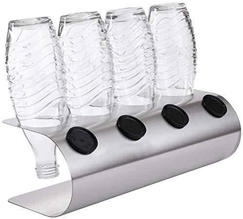 SodaNatureTM | 4er Design Abtropfhalter in U-Form z.B. für SodaStream Crystal Flaschen | Flaschenhalter in 3 Farben: Edelstahl, Weiß, Anthrazit | Made in Germany