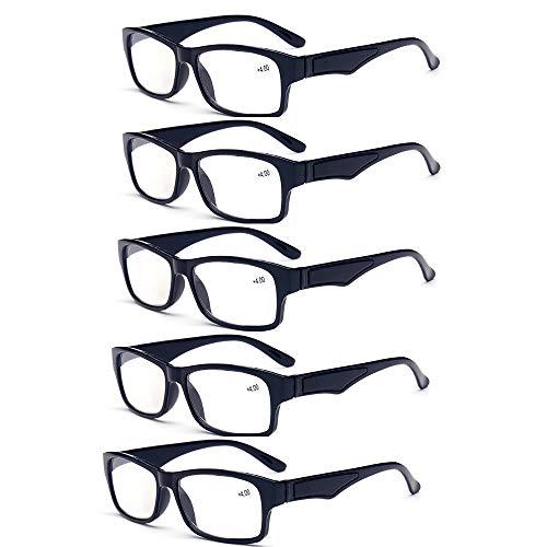 HHCC (5 Packs) quadratische Rahmen Lesebrille leser Weg presbyopie Brille vergrößerte Lesebrille schutzbrillen Computer Brillen männer Frauen,+3.50
