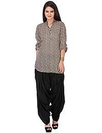 Vastra Vinod Beige Printed Cotton Salwar Suit