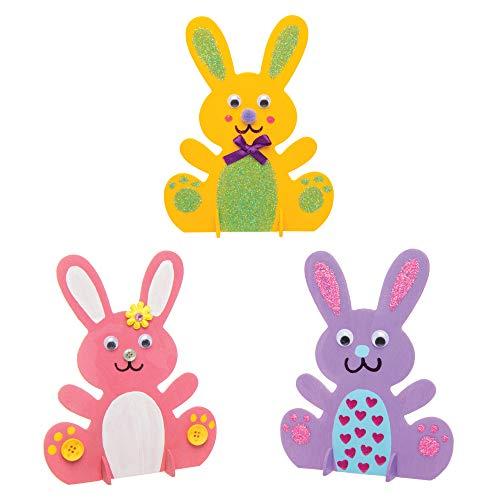 Baker Ross Coniglietti in Legno posizionabili in Verticale (Confezione da 6) - Creazioni pasquali per Bambini, da Decorare ed esporre
