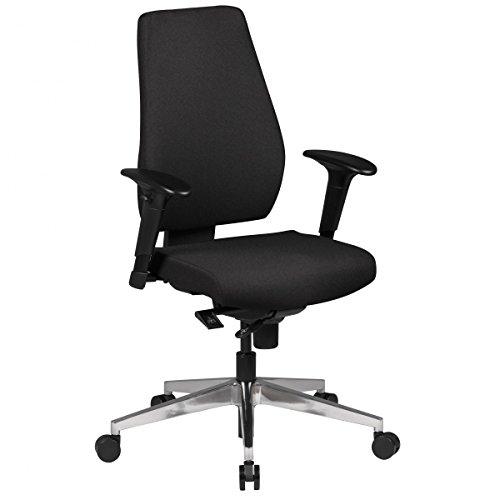 FineBuy Bürostuhl DAVE mit Stoff-Bezug in Schwarz | Design Schreibtisch-Stuhl mit Synchromechanik & Armlehnen | Drehstuhl Drehsessel ergonomisch 120 kg
