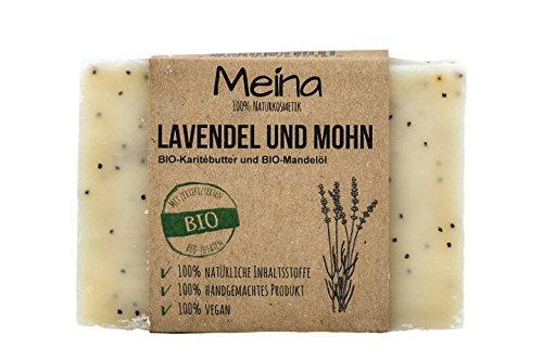 Meina Naturkosmetik - Naturseife – mit Lavendel und Mohn, sanfte Peeling-Seife (1 x 110 g) 100% natürliche, vegane, handgemachte Bio Seife mit Bio Mandelöl, Bio Shea Butter und Kokosöl, Gesichtspflege und Körperpflege