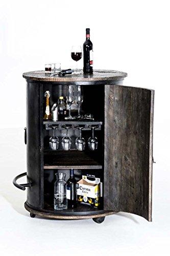 CLP Weinschrank Chicago aus Holz I Barwagen mit DREI Ablagen und Laufrollen I Mobile Weinbar I In Verschiedenen Farben erhältlich Antik Braun - 2