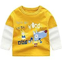 Mitlfuny Primavera Verano Niñas Camisetas Ropa de Deporte Bebé Niña Niño Dibujos Animados Impresión Cosiendo Tops