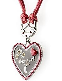 Trachtenkette Herzerl bemaltes Herz mit Edelwess Kette rot oder blau - Trachtenschmuck Dirndl Lederhose