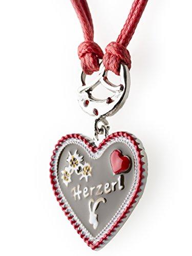 Trachtenkette Herzerl bemaltes Herz mit Edelwess Kette rot oder blau - Trachtenschmuck Dirndl Lederhose (Rot)