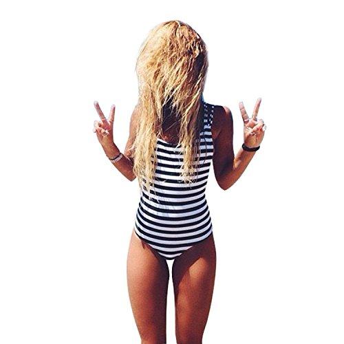 Bellezza Donna Costumi interi a Righe Push-up Strisce Imbottito Costumi da Bagno Mare e piscina Vacanza