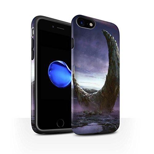 Offiziell Chris Cold Hülle / Matte Harten Stoßfest Case für Apple iPhone 8 / Rest Muster / Fremden Welt Kosmos Kollektion Zerbrochenen Mond