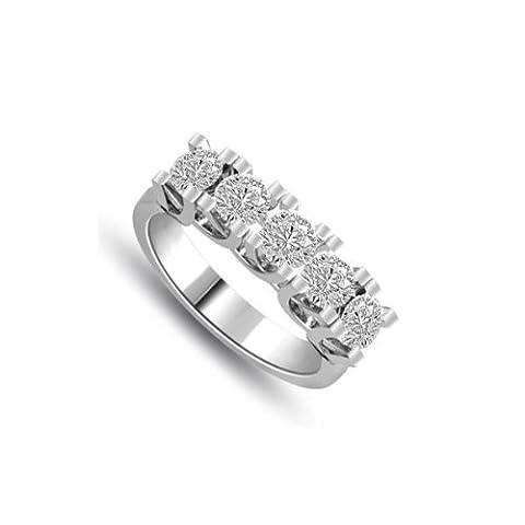 0.80ct G/VS1 Diamond Half Eternity Ring for Women with Round Brilliant cut diamonds in 18ct White