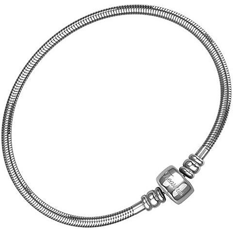 Pulsera para las mujeres y las niñas, Bono bolsa de joyas, acero cadena de serpiente pulseras, Fits Pandora charms. barril cierre magnético., 18.5 cm (7.3 inch)