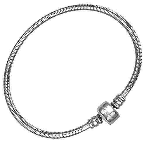 Brighton Silber Sterling Schmuck (Charm Armband für Frauen & Mädchen, Bonus Schmuckbeutel, Stahl Schlange Kette Armbänder, passend für Pandora Charms. Barrel Snap Verschluss, 18.5 cm (7.3 inch))