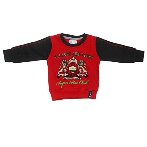 NammaBaby Premium Full Sleeves Sweat T-Shirt Victory Boy (12-18 months, RED)