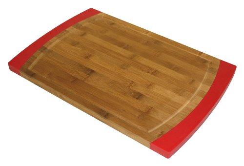 Simply Bamboo 18 x 12 Non-Slip Valencia Bamboo & Silicone Cutting Board (RED) by Simply Bamboo (Valencia Slip)