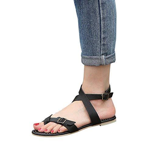 TianWlio Sandalen Damen Sommer Flache Wedge Espadrille Rome Sandalen Plattform Sommer Schuhe Zum Binden Plateau Sandaletten Sandalen Schwarz Rieker Sandalen Ballerinas Schwarz 35