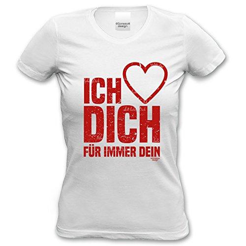 Als Liebesbeweis / T-Shirt Funshirt Girlie für Damen zum Valentin / Geburtstag / VatertagIch liebe Dich Farbe: weiss Weiß