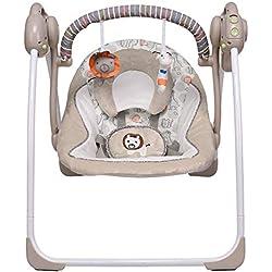 VASTFAFA Hamaca para Bebes, Eléctrica Mecedora para Bebés,Balancín Columpio Hamaca Plegado con mosquitera,16 melodías,6 velocidades de oscilación Medias