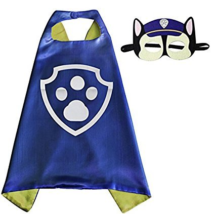 Paw patrol chase cape e maschera - super eroi di costumi per bambini - costume per bambini da 3 a 10 anni - per super eroe feste a tema. giocattoli per ragazzi e ragazze - king mungo - kmsc017