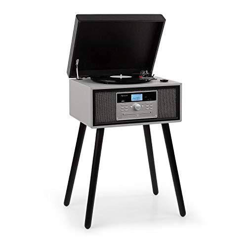 auna Mary Ann Plattenspieler 33, 45 und 78 U/min 24W max. CD-Player Bluetooth USB-Anschluss UKW-Radio Stereolautsprecher 2X 5W RMS Fernbedienung schwarz / grau