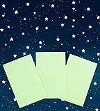 Paraboo 3X Fluoreszierende Folien zum Basteln 17cm x 12cm – Leuchtfolien selbstklebend für Sterne und Mond