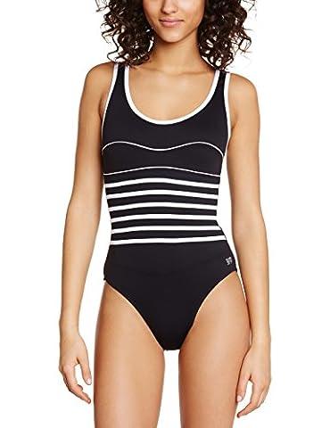 Haute pression Y1068 - Maillot de bain une pièce - Uni - Femme - Noir (Noir/Blanc) - FR: 36 (Taille fabricant: 36)