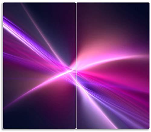 Herdabdeckplatte / Spritzschutz aus Glas, 2-teilig, 60x52cm, für Ceran- und Induktionsherde, Abstrakte Formen und Linien, schwarz lila pink weiß