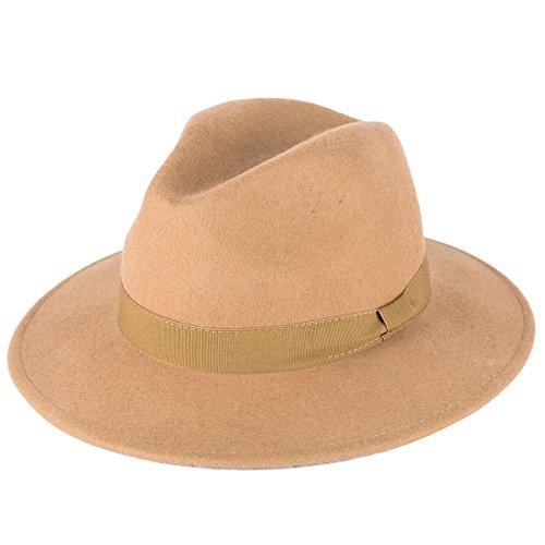 Hommes Femmes Chapeau Fedora Casquette Camel