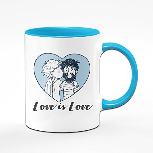 Tasse Love is Love - Pride Kaffeetasse - Liebe ist Liebe - Homosexuell - Schwule Geschenke - Blau
