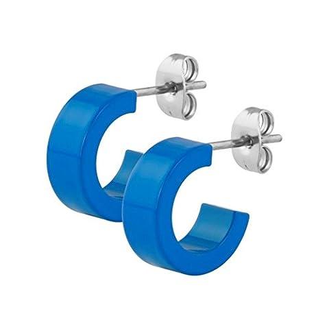 eeddoo® Stahl - Ohrring - Supernova Concept - 5 x 9 mm - Blau / Blue (Ohrstecker Ohrreifen Ohrschmuck für Damen und