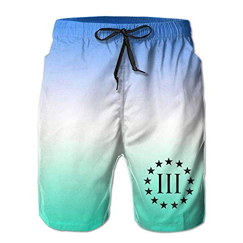 khgkhgfkgfk Vintage Molon Labe 3 Percenter III Mens Board Shorts Beach Swim Trunks Relaxed-Fit Shorts X-Large
