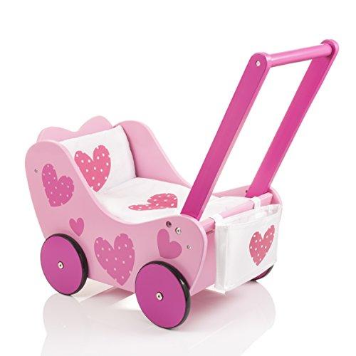 SUN Holzpuppenwagen Herzchen Puppenwagen mit Puppenzubehör by Woodinis-Spielplatz®