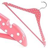 10 Weiß-rosa gepunktete Holz Kleiderbügel mit Hosensteg - 45cm - Hangerworld