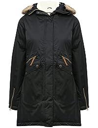 M&Co Trespass Ladies Fur Trim Hood Funnel Neck Outdoor Insulated Waterproof Parka Jacket
