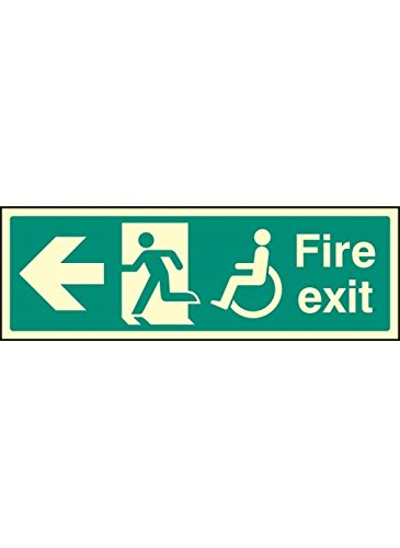 "Caledonia Signs 32087L Schild""Disabled Fire Exit\"", beleuchtet starr, 450 mm x 150 mm"