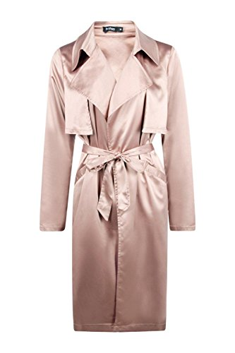 Mokka Damen Boutique Millie Silky Midi Trench Mokka