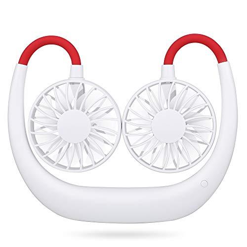Simpeak USB Ventilator Leise 3 Speed Betrieb Weiß, Mini Faul Fan Hängender Halsfächer USB Lüfter für Einkaufen, Camping, Picknick, Sporttreffen, Ausflüge -