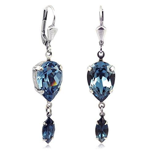 Ohrringe mit Kristalle von Swarovski® Silber Blau NOBEL SCHMUCK